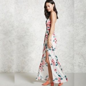 F21 Floral Pink/Teal Strappy Maxi Dress M